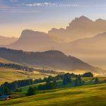 Alpe di Siusi all'alba sfondo odle