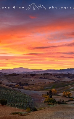 Alba infuocata in Val d'Orcia