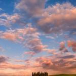tramonto sui cipressi della Val d'Orcia