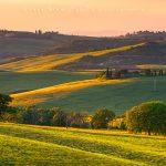 Val d'Orcia, le colline ed i campi al tramonto