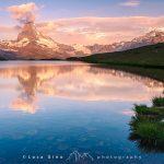Il Matterhorn dal lago Setllisee all'alba, la vista classica del Cervino da Zermatt