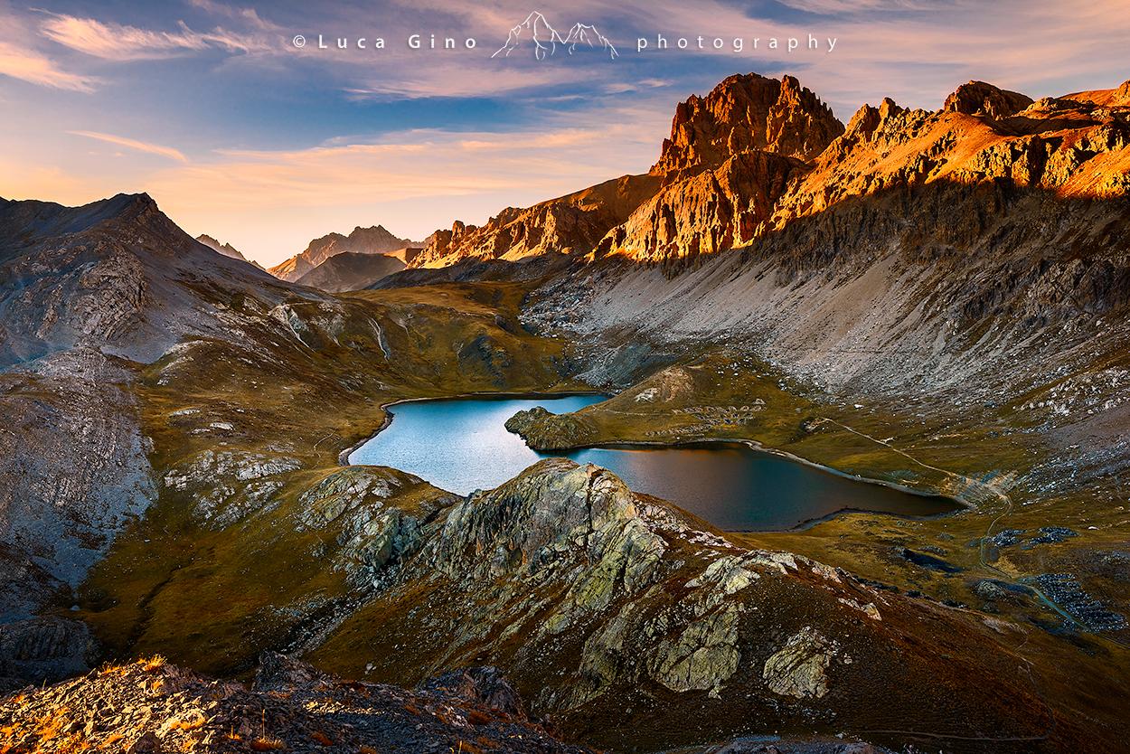 Il Lago superiore di Roburent e l'Oronaye al tramonto