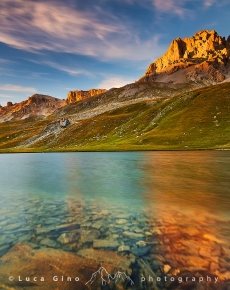 Il Lago dell'Oronaye al tramonto