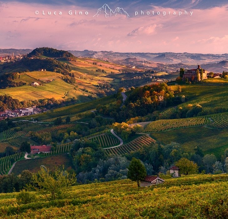 Sunset over the vineyards of Barolo