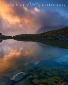Il laghetto della Meja al tramonto