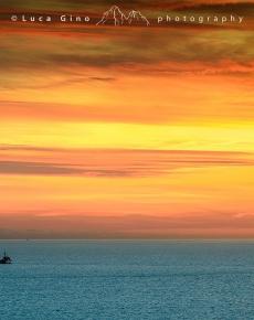 Il mar ligure al tramonto