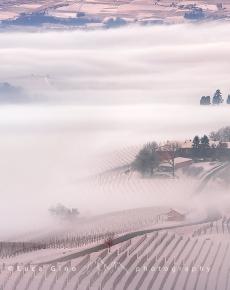 In castello e i vigneti di Grinzane Cavour in inverno